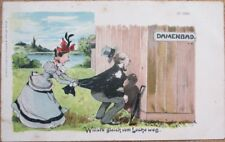 Risque 1903 Postcard: Angry Woman, Man Peeking into Changing Cabin - Color Litho