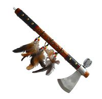 American Indian Tribute Peace Pipe Ax Axe Home Decor Decoration Display Real