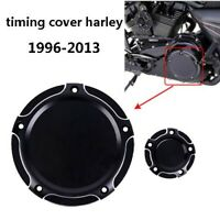 Black Edge Cut 5 Hole Derby & Timing Timer Cover For Harley FLHX Twin Cam Models