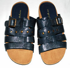 Easy Spirit Gardening Navy Blue Leather Strappy Slides Sandals Size 5 M NWOB