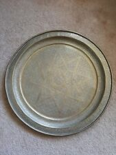 New listing 30� Vintage Solid Brass Middle Eastern Moroccan Tray Platter, 8 point star, etch