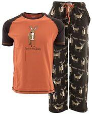 Lazy One Men's Trophy Husband Brown 100% Cotton Pajamas Two-Piece Pajama Set