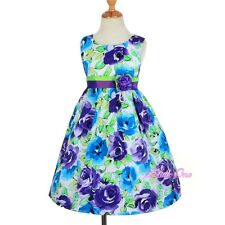 Cotton Purple Blue Rose Floral Girl Summer Holiday Dress Kid Sz 3T 4T 5 6 SD008