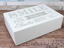 Smile and the world smiles glitter Trinket box memory keepsakes