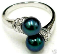 Black shell Pearl Ring size 7 8 9#  A109