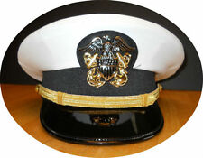 US NAVY LINE OFFICER WHITE CURRENT UNIFORM VISOR HAT AUTHENTIC NEW ALL SIZES