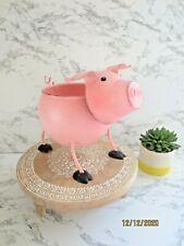 Pink Metal Pig Planter Storage Home Kitchen Garden Decor