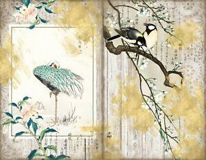 GOLD JAPANESE - VINTAGE JUNK JOURNAL KIT - JOURNAL PAGES - SCRAPBOOKING