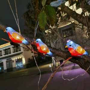 Acrylic 5 LED Clip On Robins Lights Garden Tree Outdoor Birds Christmas Decor