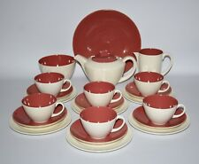 Poole Pottery -C95 Twintone Indian Red/Magnolia, Complete 22 Piece Tea Set for 6