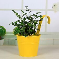 Metal Hanging Flower Pot Balcony/Garden Wall Fence Hanging Plant Planter Yellow