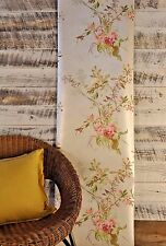 Birds Wildflowers Green Pink Lilac Tan Creme Traditional Floral Wallpaper DIY