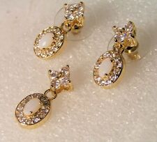 High End Fashion Gold Plated White fire Opal CZ Earrings & slide Pendant