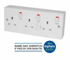 TRIPLE 3 GANG 13AMP SWITCHED FUSED MAINS WALL PLUG SOCKET C/W SURFACE MOUNT BOX