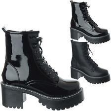 Mujer Damas Tacón Medio Bloque Grueso Plataforma Botas al Tobillo Zapatos Talla militar