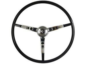 1965-66 Ford Mustang Steering Wheel Kit w/Horn Ring & Spring - Black