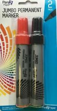 2 JUMBO PERMANENT MARKER PENS 7MM WIDE CHISEL TIP NIB EXTRA LARGE BIG RED BLACK