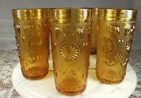 """(7) Brockway AMERICAN CONCORD AMBER Tumblers/Glasses 10oz 5.5"""" VINTAGE 1977-78"""