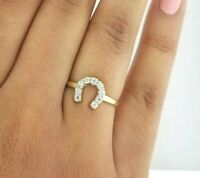 14K Solid Yellow Gold Horse Shoe Ring 0.50 Ct