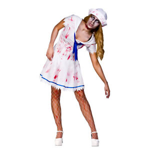Sailor Girl Zombie Ladies Halloween Fancy Dress Party Undead Navy Costume Outfit