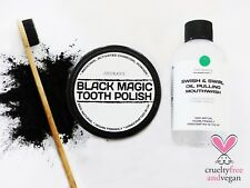 50ml CHARCOAL POWDER TOOTH POLISH + 250ml MINT COCONUT OIL PULLING MOUTHWASH SET