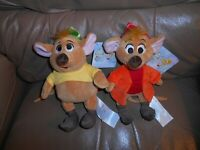 "GUS & JAQ MICE PLUSH CINDERELLA MINI BEAN BAGS 8"" THE DISNEY STORE NWT NEW!"
