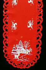 """Christmas Village Reindeer Embroidered Oval Lace Placemat 11""""x17"""""""