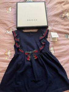 Gucci baby girl dress,36 months,worn once,navy with stripes,cotton