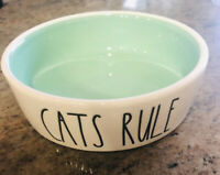 "Rae Dunn Cat Bowl Dish-Lettered  ""CATS RULE"" Pet Food Or Water Artisan Magenta"