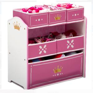 Toy Organizer Multi Storage Bin Princess Kids Girls Playroom Box Chest Gift Pink