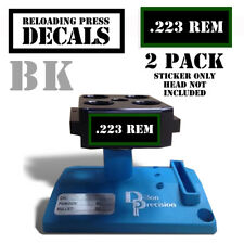 "223 REM Reloading Press Decals Ammo Labels Sticker 2 Pack 1.95"" x .87"" BLK/GRN"