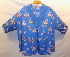 Very Cute WOMAN WITHIN Size 5X Crochet Lace Applique  Floral Print Tunic Blouse