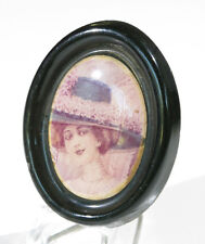 Vintage 1970s French Serigraphy Plastic Resin Pin Brooch belle epoque portrait