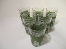 SET OF 6 JEANETTE GLASS GREEN WEDGEWOOD HELLENIC GRECIAN JUICE GLASSES ~ 6 ounce