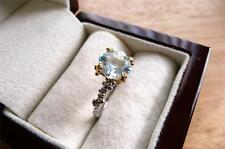 SOLITAIRE BLUE TOPAZ 925 STERLING SILVER GOLD PLATED RING SZ O 7.5