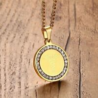 Gold Medical Alert ID Tag Necklace Pendant Crystal Stainless Steel Free Shipping