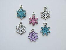 36 Enamel SNOWFLAKE CHARMS Christmas charm FREE S/H snowflakes winter theme