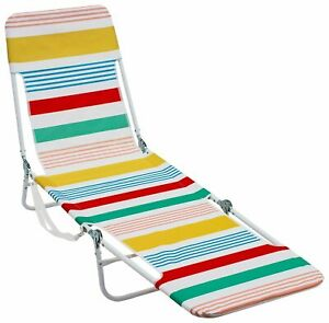 Rio Striped Backpack Lounge Beach Chair One Size White/yellow/red/blue