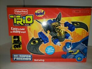 Fisher Price Trio Blocks Bricks Dc Super Friends Batman Batwing