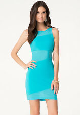 BEBE BLUE MESH KNIT CONTRAST BACK DRESS NWT NEW $99 LARGE L