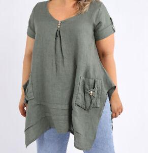 Lagenlook Front Pockets Khaki Linen Tunic Top from Timeless Season