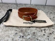 New! $85 Shinola Wide Double Wrap Bracelet. Orange Horween Leather. Made In USA