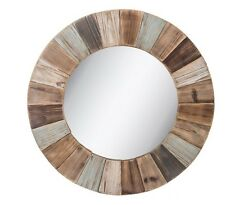 Large Rustic Colorful Round Wood Wall Mirror Shabby Chic Home Decor New