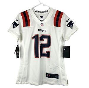 Tom Brady #12 White New England Patriots Women's Jersey Size Small