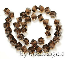 "12mm Smoky Crystal Diamond-Cut Square Beads 16"" (CR197)b"