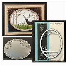 Forest Clearing Oval Frame metal die Memory Box Dies 99482 Bare Trees, frames