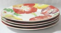 222 Fifth Jolly Poppy Multi-Color Floral Porcelain Salad Plates New