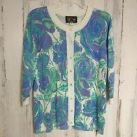 Bob Mackie Cardigan Sweater Women's Size Medium 3/4 Sleeves Bold Blue Floral