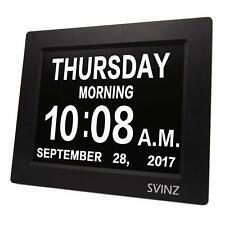 Dementia Clock Large Display Digital Calendar Day for Vision Impaired, Elderly