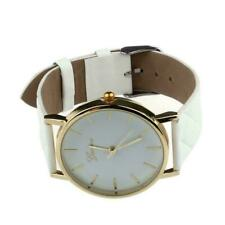 Unisex Platinum Leather Band Strap Analog Quartz Casual Event Daily Wrist Watch